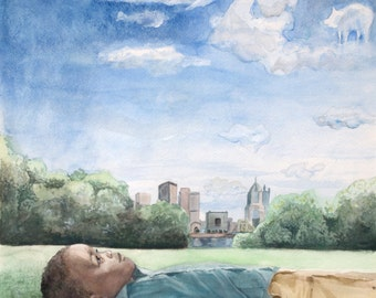Daydreaming in Pittsburgh, giclee print of original watercolor painting, Cloud Animals