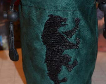 Dice Bag game of thrones Mormont Embroidery Gray Suede