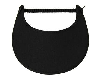 Black visor with fabric trimmed edges.