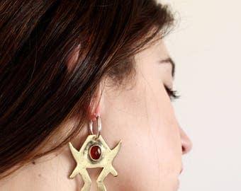 Carnelian earrings stone earrings crystal earrings boho earrings statement earrings natural stone earrings gift for her tribal earrings