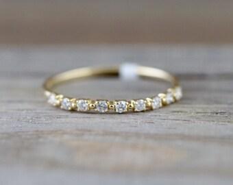 14kt Yellow Gold Diamond Ring Band Wedding Engagement Stack Dainty