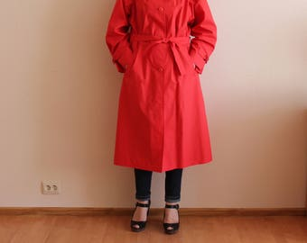 Red Coat Women's Trench Coat Classic Trench Coat Red Women Trenchcoat Vintage Raincoat Lining with Belt