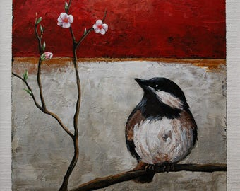 Small original art, bird painting, chickadee painting, bird on a branch, wall art, 6x6 inches acrylic painting within an 11x14 inches mount