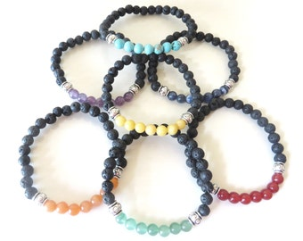 Chakra Bead Bracelet Set Lava Bead Essential Oil Aromatherapy Yoga Relaxation Therapeutic Stretch Bracelet
