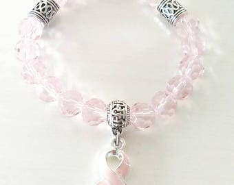 Pink Awareness Ribbon Infinity Beaded Stretch Bracelet Breast Cancer Testicular Cancer