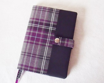 Tartan Reusable Book Cover with Notebook or Diary Purple & Grey Tartan plaid fabric. A5 Hardback lined notebook or 2017 week to view Diary