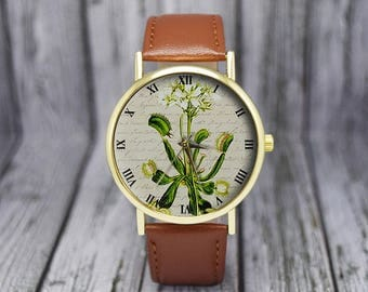 Vintage Venus Fly Trap  Flower Watch | Floral Watch | Botanical | Men's Watch | Women's Watch |  Birthday | Wedding | Gift Ideas | Accessory