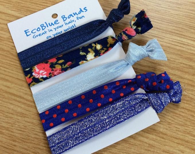5 hair elastics, soft stretch hair ties, ponies, yoga hair ties, bracelets, ponytail holders - Navy Flower Mix