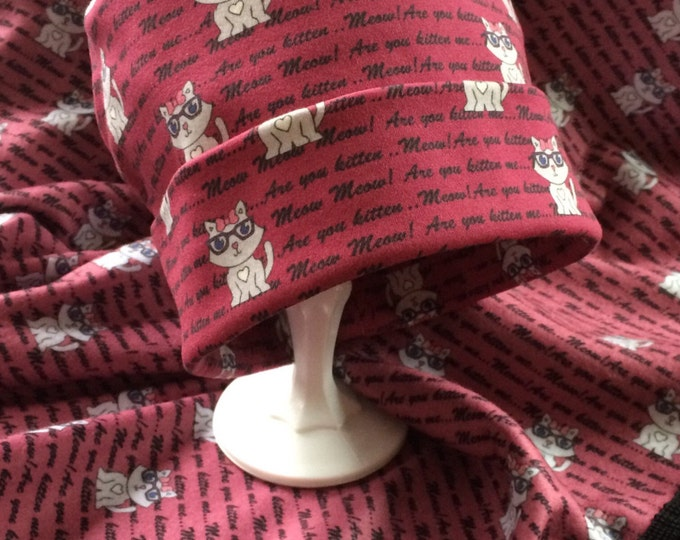 Chemo Hat, Cap, Beanie, Slouch Headwear in Custom Sassy Cat Fabric, Super Soft Hats for Cancer Patients