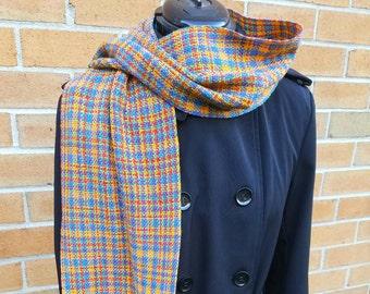 Merino Wool Yellow Plaid Scarf, Yellow Scarf, Handwoven Yellow Plaid
