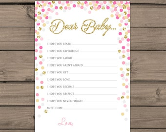 Baby shower Wishes for Baby game Instant download Pink and Gold baby shower Gold glitter confetti Baby wishes card PRINTABLE bsc