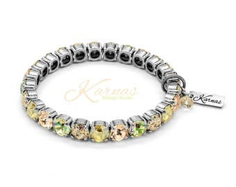 LUMINOUS GOLD 8mm Crystal Chaton Stretch Bracelet Made With Swarovski *Pick Your Finish *Karnas Design Studio *Free Shipping