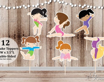 Girls Gymnastics Collection Toppers - Set of 12 Double Sided Assorted Birthday Cupcake Toppers - Food Picks - Party Picks