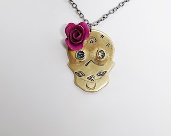 Brass Sugar Skull Dia de los Muertos Abalone Shell necklace. ....................................................rose, pink, blue, halloween