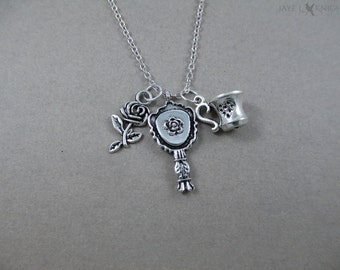 Beauty and the Beast Rose, Mirror, and Tea Cup Necklace - Belle - Silver Charms