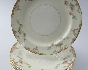 Homer Laughlin Nautilus Eggshell China Salad Plates in the Aristocrat Pattern, Soft Floral Garland on Creamy White, Gold Trim, Set of 8