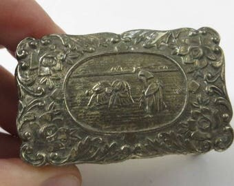 Miniature Trinket Box, Cameo of Millet's The Gleaners, Ring Box