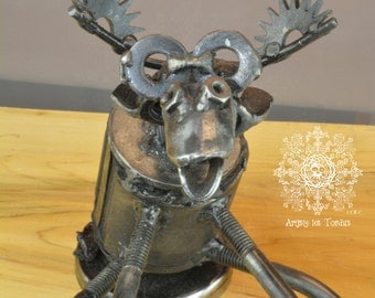 Sculpture made entirely from recycled metal materials. It is called ''Moose''