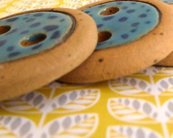 Set of 6, Large ceramic buttons, Hand made buttons, Light blue buttons, Blue & yellow, Polka dots buttons, Craft Supplies, Ceramics buttons