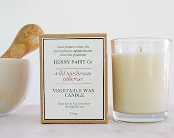 wild mushroom tuberose candle 8 oz | natural soy & coconut wax candle | unisex fragrance of white blooms, rosewood, chocolate, patchouli