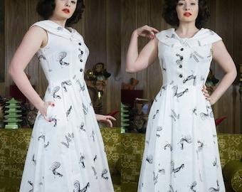 50s Novelty Dress | Chicken Print | Rooster Print | 50s Dress | 50s White Dress | Black & White Dress | 50s Full Skirt | 1950s Cotton Dress