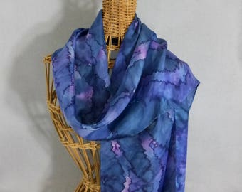 "Silk Scarf ""Navy and Purple Blend"", Hand Painted Silk Scarf, Blue-Purple Scarf"