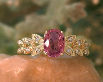 Pink Tourmaline and Diamond Engagement | Prong Setting | Polished Finish | Solid 14K Gold | Fine Jewelry | Free Shipping