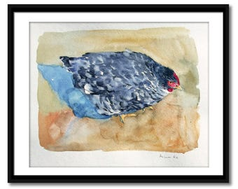 Original watercolor painting, hen painting, watercolor chicken, contemporary art