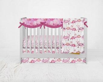 Flamingo Crib Bedding Set. Toddler Sheet. Baby Bedding. Pink Crib Set. 4 Piece Set - Fitted Crib Sheet, Crib Skirt, Rail Guard, Blanket.