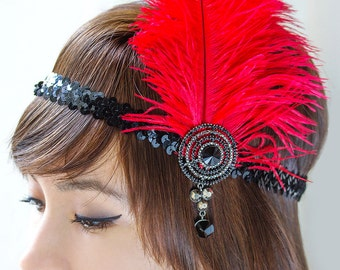 Feather Flapper Headband, Black & Red Flapper Headband, Red Flapper Headpiece, Gatsby Headband, 1920's Headpiece, Flapper accessories, H152