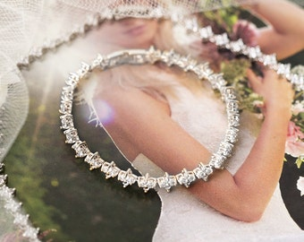 Bridal Jewelry Sets Silver Necklace and Bracelet Set Silver Bracelet Silver Earrings White Gold Jewelry Crystal Wedding Jewelry B227-N227-S