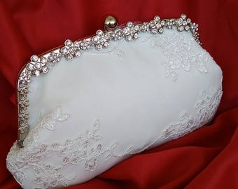 Ivory off white floral lace rhinestone frame summer wedding bridal clutch purse BBsCustomClutches