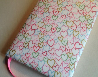 Fabric Covered Padded Notebook, Love Hearts