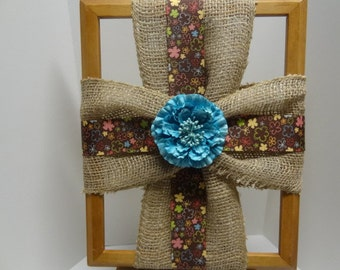 Burlap Cross Picture Frame