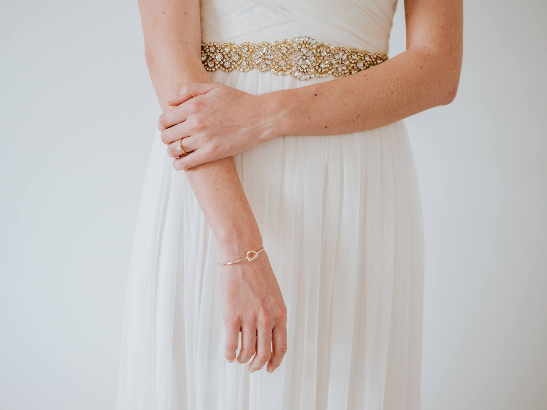 Unique Wedding Dress Sashes Belts: Gold All Around Dress Sash Belt Luxury Crystal Bridal Gold