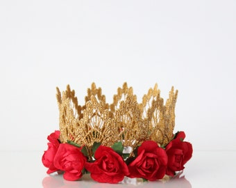 Red + Gold Birthday Mini Lace Crown - Lainey Flower - Lace Crown - Belle Crown