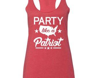 PARTY Like A Patriot Tank Top. MERICA Tank Top. 4th Of July Tank. Fourth of July Tank Tops. America.Summer Tank. Star Spangled Hammer. 1776