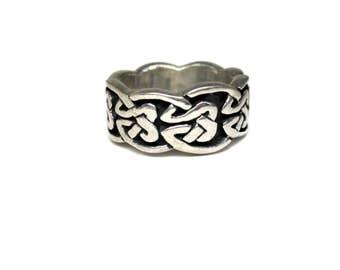Wide Vintage 90s Sterling Celtic Band Ring Size 5