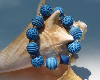 Blue Polymer Clay Bracelet