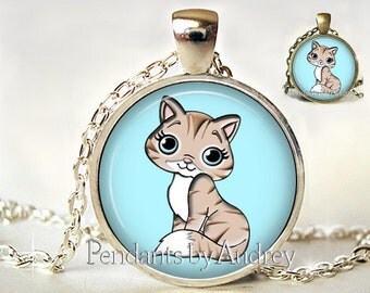 Cat Necklace,Cartoon Cat Pendant,Kitten,Gift for Little Girl,Cat Picture Pendant,Cat jewelry,Jewellery,Gift,Art, Photo,Cute