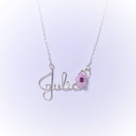 child name necklace flower necklace flower gift