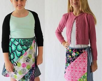 Ruby wrap skirt, girls skirt pattern, girls sewing pattern, girls pattern, girls skirt pdf, girls pdf pattern, girls wrap skirt pattern