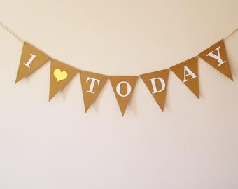 First birthday bunting 1 today, Gender neutral birthday party
