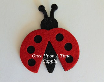 Red Black Felt Ladybug - 2.75 Inch Boutique Hair Bow Making Flower Hairbow Centers - Craft Embellishment Patch Scrapbooking Suppy