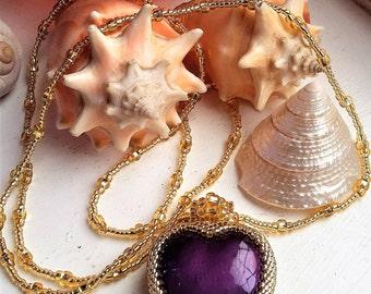 Gold Beaded Purple Heart Pendant Necklace