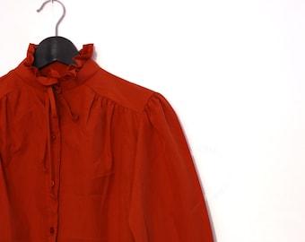 Rust Color Victorian Blouse, Long Sleeve Vintage Secretary Blouse