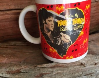 Vintage, Elvis Presley, Hunka, Burnin' Love, Coffee, Mug Cup Collectible