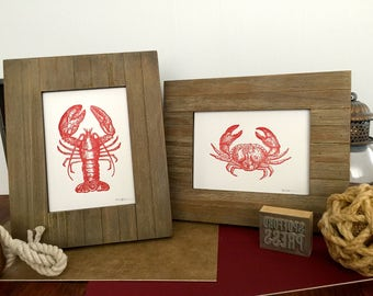 SET of Red Lobster and Crab Prints