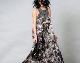 Grey And Black Maxi Dress / Long Dress / Boho Sleeveless Dress / Oversize Prom Dress / Ombre Urban Dress / Casual Modern Dress - Jessa