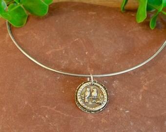 Fine Silver Lovebirds Sitting on a Twig | Precious Metal Clay